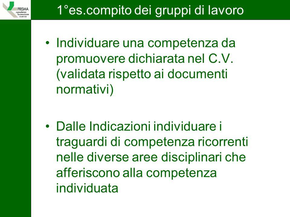 1°es.compito dei gruppi di lavoro Individuare una competenza da promuovere dichiarata nel C.V.