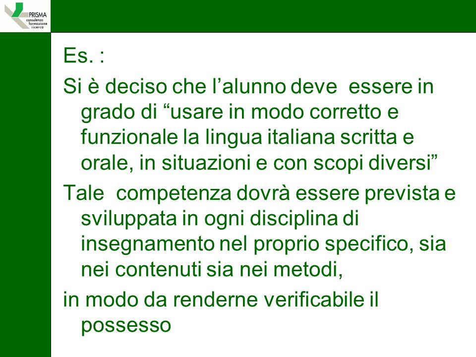 Es. : Si è deciso che lalunno deve essere in grado di usare in modo corretto e funzionale la lingua italiana scritta e orale, in situazioni e con scop