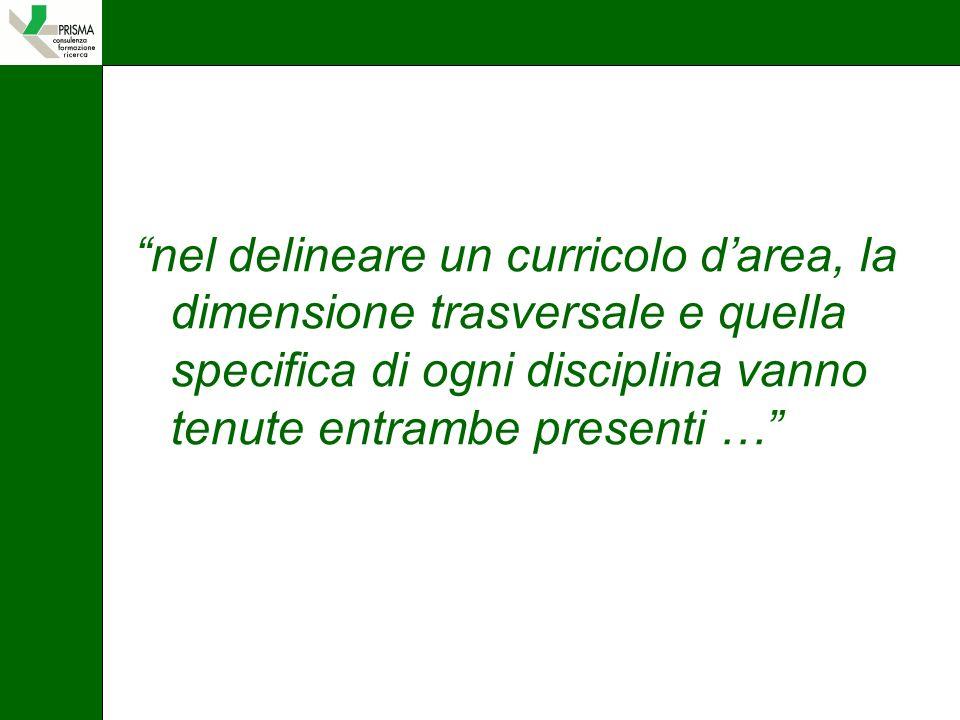 nel delineare un curricolo darea, la dimensione trasversale e quella specifica di ogni disciplina vanno tenute entrambe presenti …