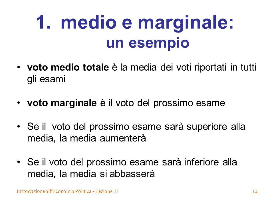 Introduzione all'Economia Politica - Lezione 1112 1.medio e marginale: un esempio voto medio totale è la media dei voti riportati in tutti gli esami v