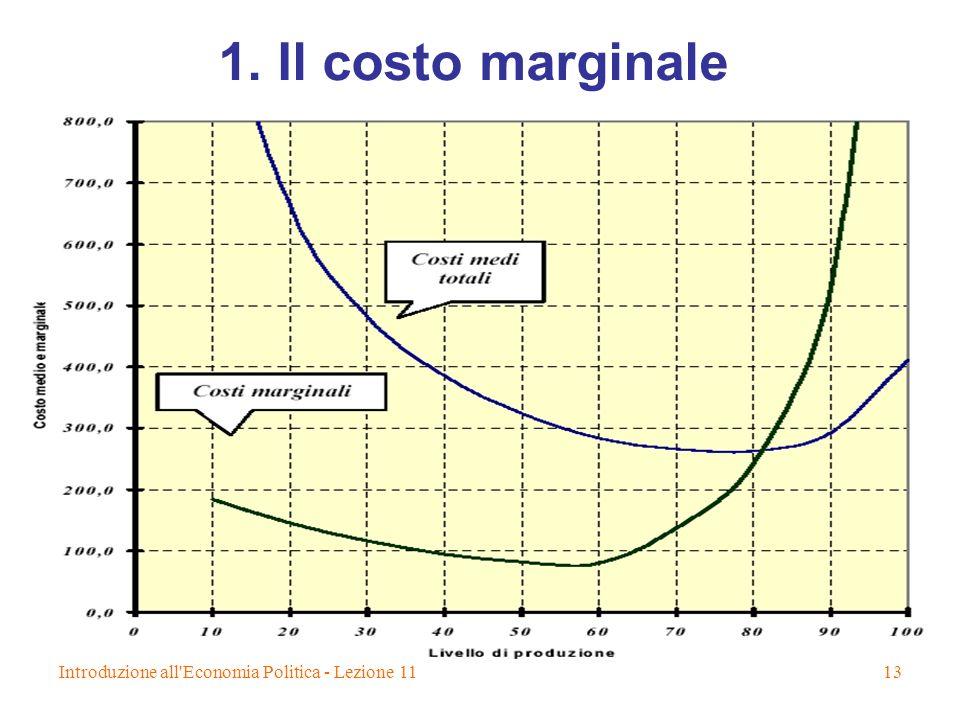 Introduzione all'Economia Politica - Lezione 1113 1. Il costo marginale