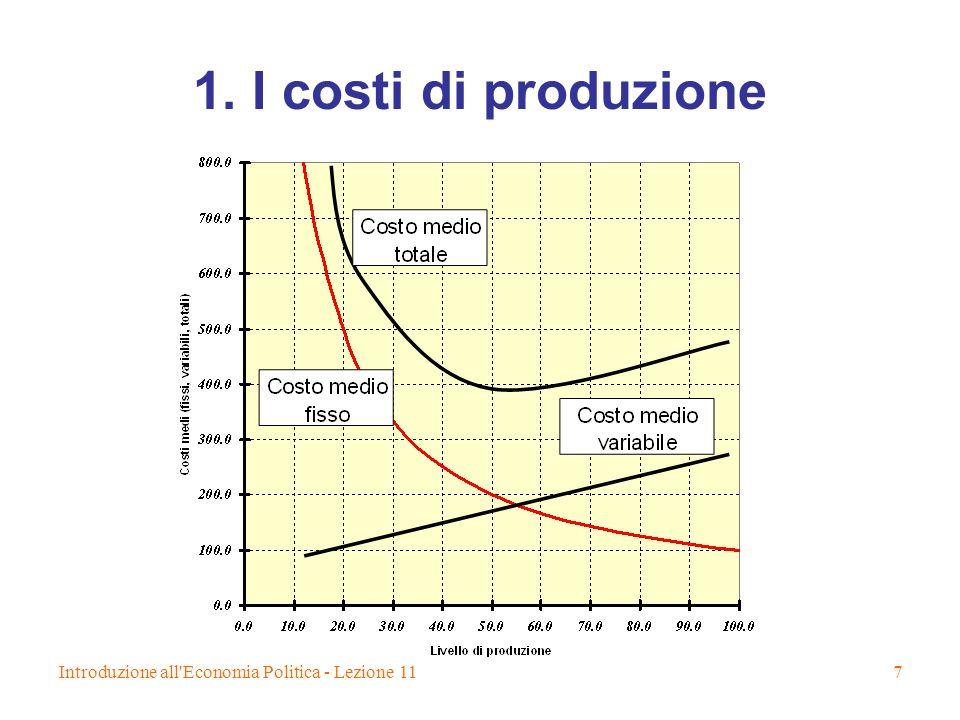 Introduzione all'Economia Politica - Lezione 117 1. I costi di produzione