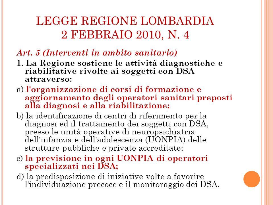 LEGGE REGIONE LOMBARDIA 2 FEBBRAIO 2010, N. 4 Art. 5 (Interventi in ambito sanitario) 1. La Regione sostiene le attività diagnostiche e riabilitative