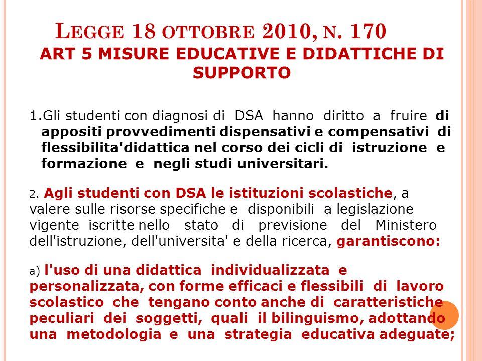L EGGE 18 OTTOBRE 2010, N. 170 ART 5 MISURE EDUCATIVE E DIDATTICHE DI SUPPORTO 1.Gli studenti con diagnosi di DSA hanno diritto a fruire di appositi p