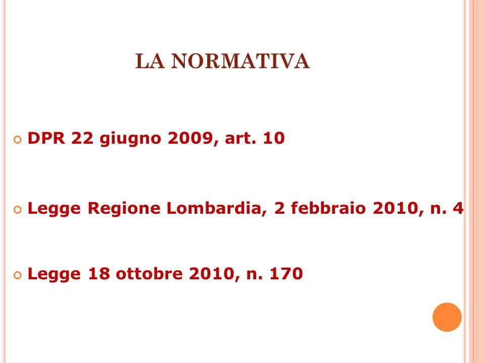 DPR 22 giugno 2009, art. 10 Legge Regione Lombardia, 2 febbraio 2010, n. 4 Legge 18 ottobre 2010, n. 170