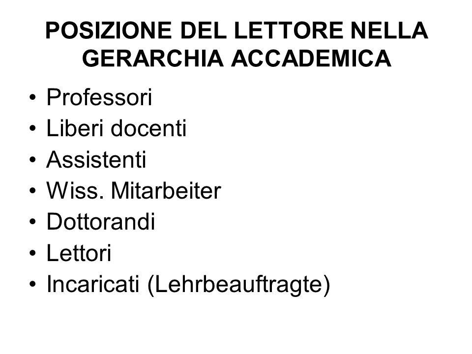 POSIZIONE DEL LETTORE NELLA GERARCHIA ACCADEMICA Professori Liberi docenti Assistenti Wiss.