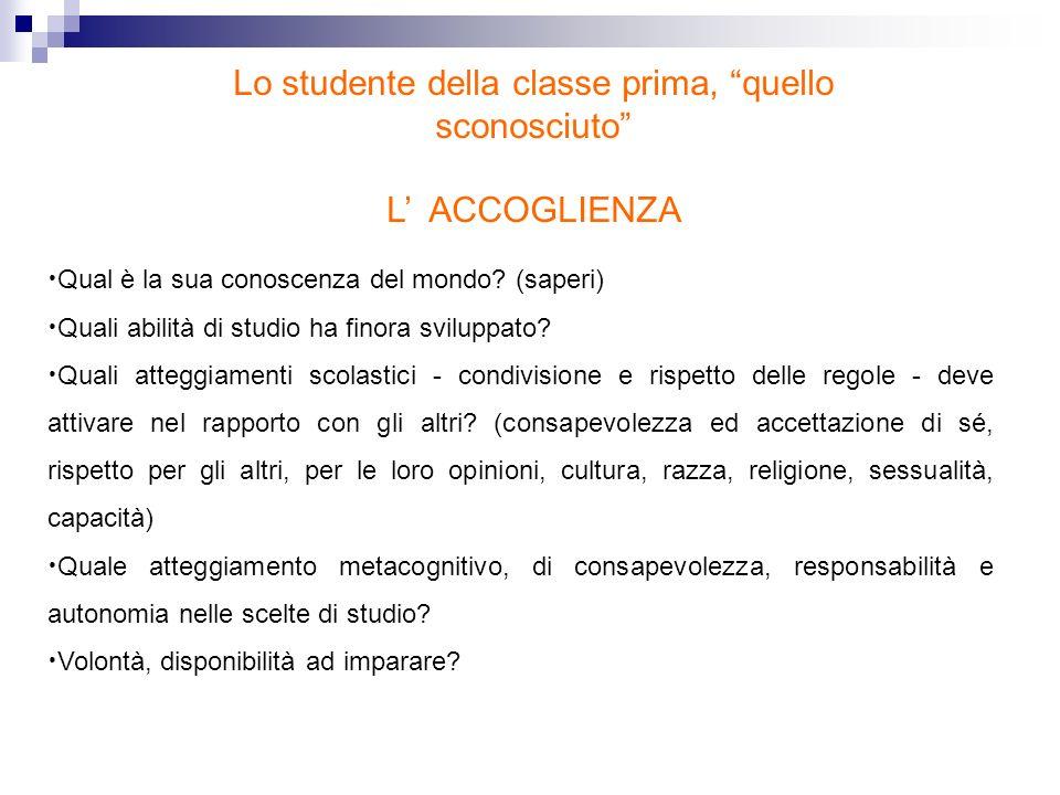 Lo studente della classe prima, quello sconosciuto L ACCOGLIENZA Qual è la sua conoscenza del mondo? (saperi) Quali abilità di studio ha finora svilup
