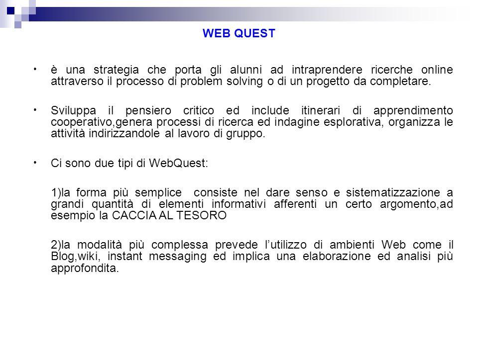 WEB QUEST è una strategia che porta gli alunni ad intraprendere ricerche online attraverso il processo di problem solving o di un progetto da completa