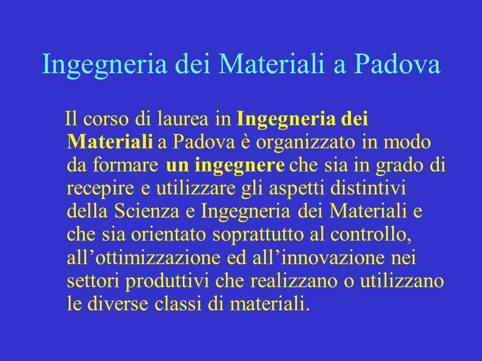 Ingegneria dei Materiali a Padova Il corso di laurea in Ingegneria dei Materiali a Padova è organizzato in modo da formare un ingegnere che sia in gra