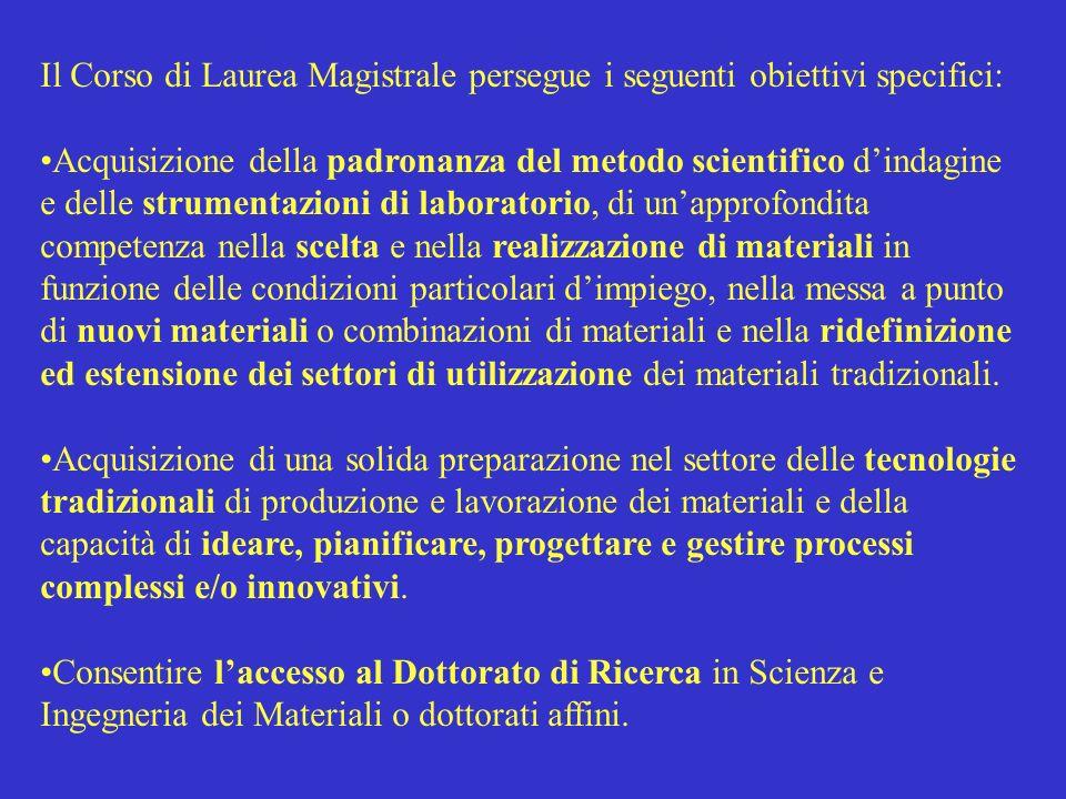 Il Corso di Laurea Magistrale persegue i seguenti obiettivi specifici: Acquisizione della padronanza del metodo scientifico dindagine e delle strument