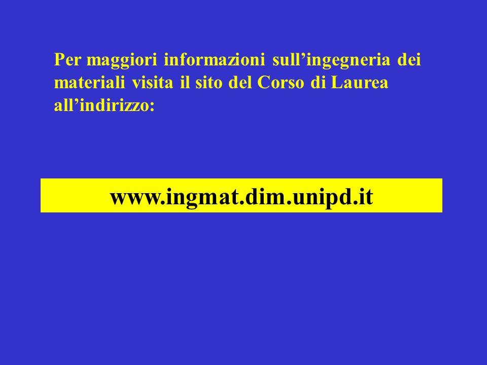 Per maggiori informazioni sullingegneria dei materiali visita il sito del Corso di Laurea allindirizzo: www.ingmat.dim.unipd.it