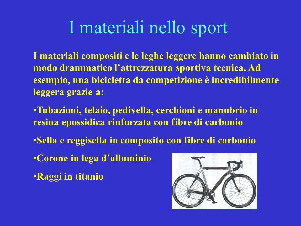 I materiali nello sport I materiali compositi e le leghe leggere hanno cambiato in modo drammatico lattrezzatura sportiva tecnica. Ad esempio, una bic