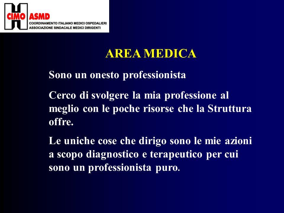 AREA MEDICA Sono un onesto professionista Cerco di svolgere la mia professione al meglio con le poche risorse che la Struttura offre.