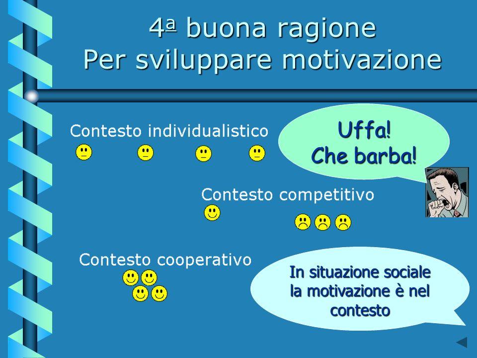 4 a buona ragione Per sviluppare motivazione In situazione sociale la motivazione è nel contesto Uffa.