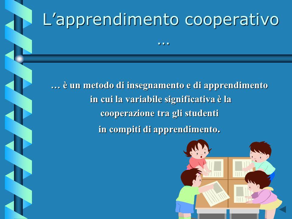 Lapprendimento cooperativo … … è un metodo di insegnamento e di apprendimento in cui la variabile significativa è la in cui la variabile significativa è la cooperazione tra gli studenti in compiti di apprendimento.
