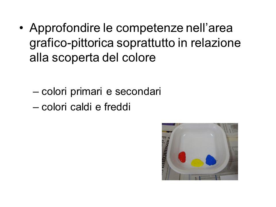 Approfondire le competenze nellarea grafico-pittorica soprattutto in relazione alla scoperta del colore –colori primari e secondari –colori caldi e fr