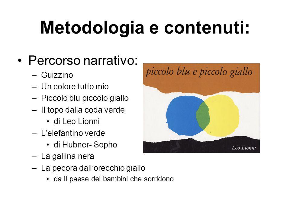 Metodologia e contenuti: Percorso narrativo: –G–Guizzino –U–Un colore tutto mio –P–Piccolo blu piccolo giallo –I–Il topo dalla coda verde di Leo Lionn