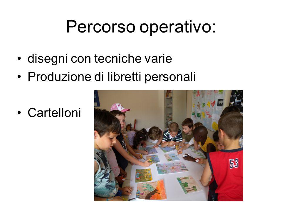 Percorso operativo: disegni con tecniche varie Produzione di libretti personali Cartelloni