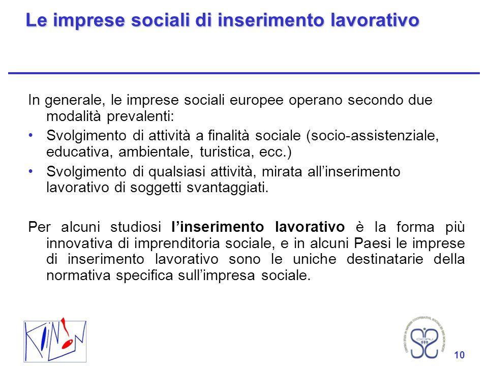 10 Le imprese sociali di inserimento lavorativo In generale, le imprese sociali europee operano secondo due modalità prevalenti: Svolgimento di attivi
