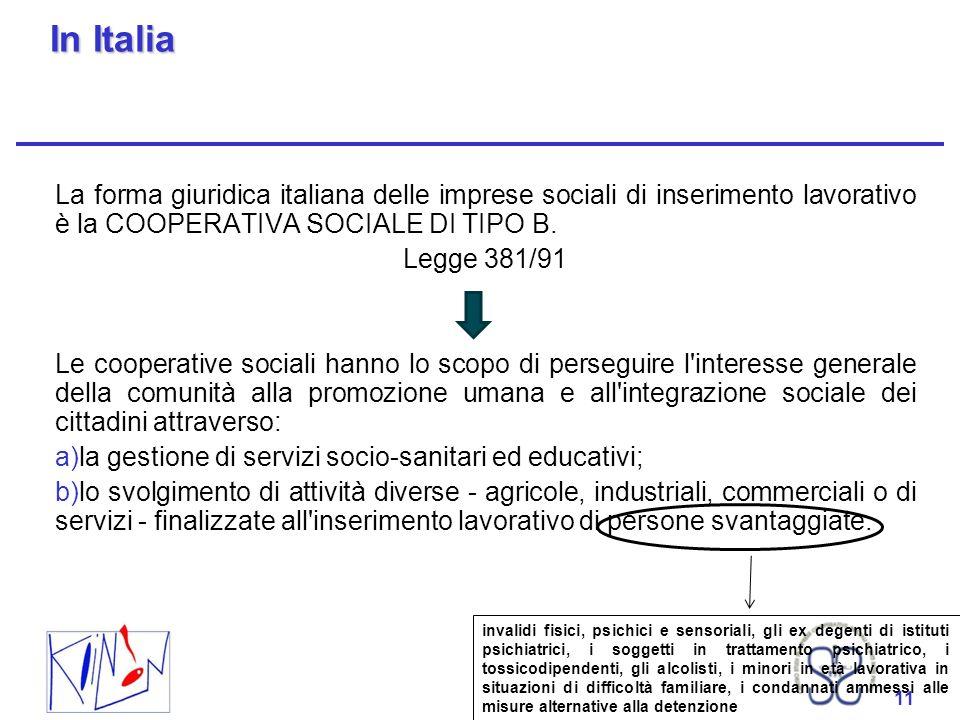 11 In Italia La forma giuridica italiana delle imprese sociali di inserimento lavorativo è la COOPERATIVA SOCIALE DI TIPO B. Legge 381/91 Le cooperati