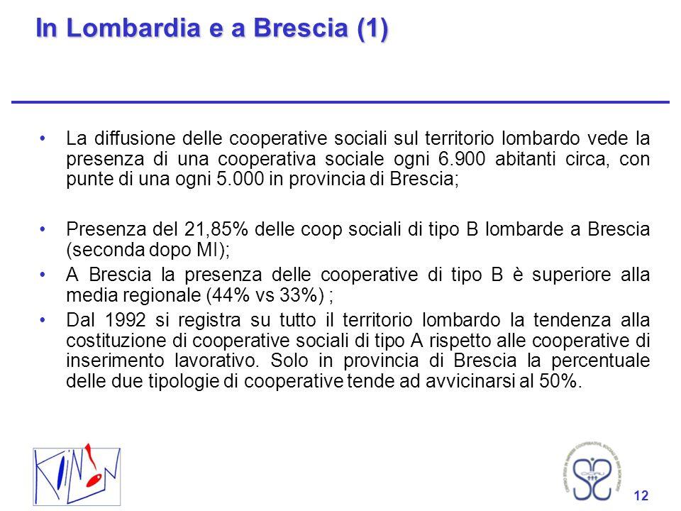 12 In Lombardia e a Brescia (1) La diffusione delle cooperative sociali sul territorio lombardo vede la presenza di una cooperativa sociale ogni 6.900