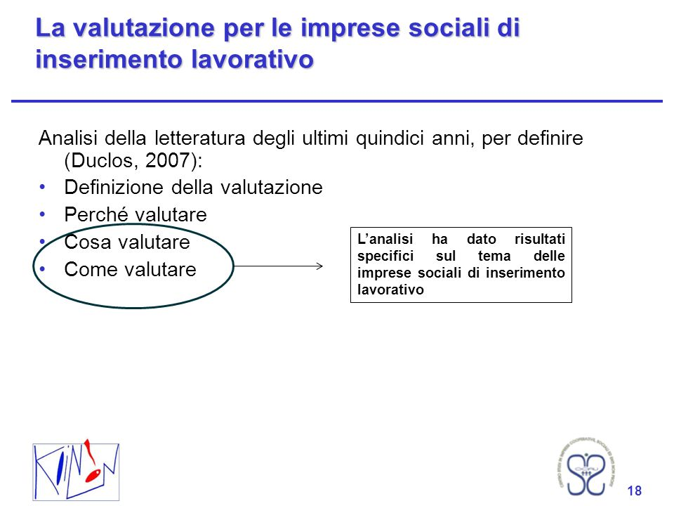 18 La valutazione per le imprese sociali di inserimento lavorativo Analisi della letteratura degli ultimi quindici anni, per definire (Duclos, 2007):