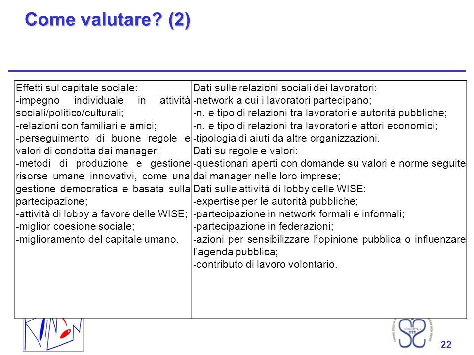 22 Come valutare? (2) 22 Effetti sul capitale sociale: - impegno individuale in attività sociali/politico/culturali; - relazioni con familiari e amici