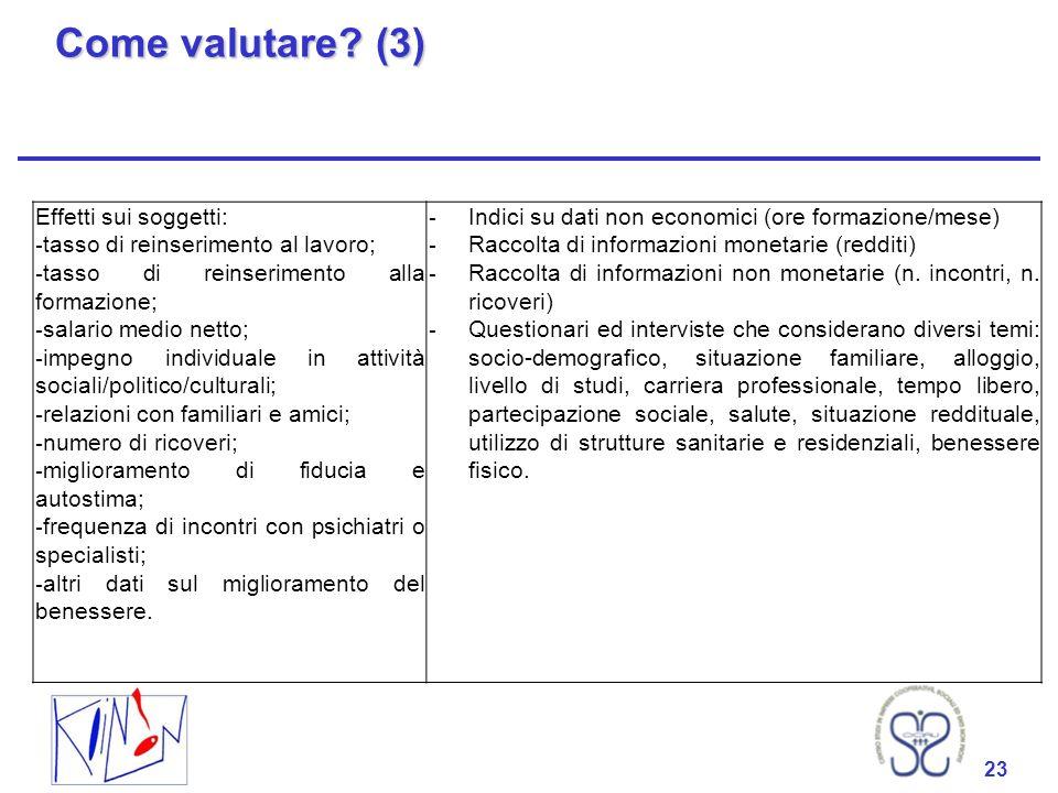 23 Come valutare? (3) 23 Effetti sui soggetti: - tasso di reinserimento al lavoro; - tasso di reinserimento alla formazione; - salario medio netto; -