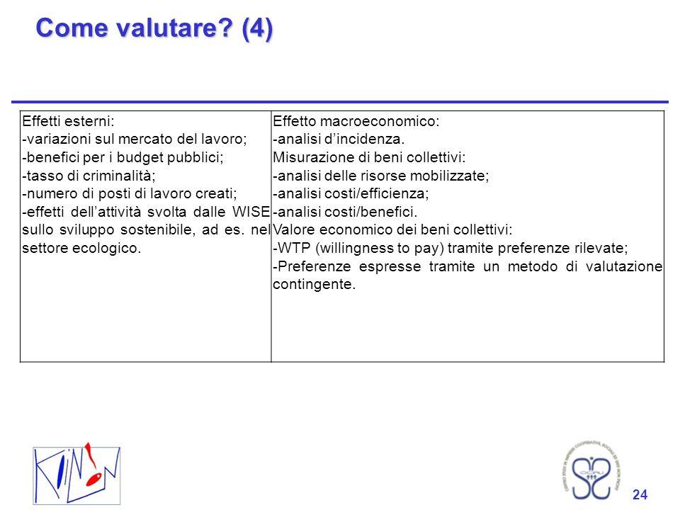 24 Come valutare? (4) 24 Effetti esterni: - variazioni sul mercato del lavoro; - benefici per i budget pubblici; - tasso di criminalità; - numero di p