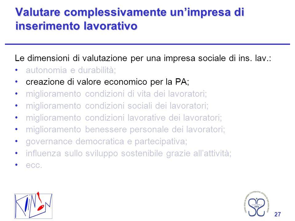27 Valutare complessivamente unimpresa di inserimento lavorativo Le dimensioni di valutazione per una impresa sociale di ins. lav.: autonomia e durabi