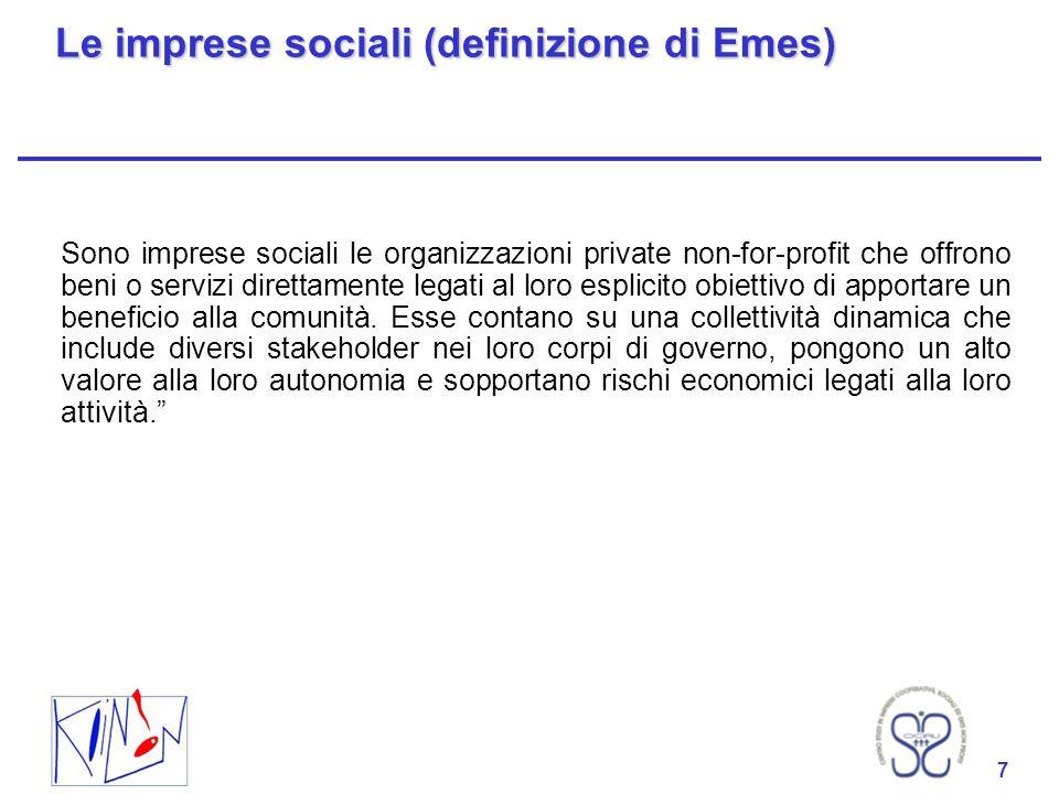 7 Le imprese sociali (definizione di Emes) Sono imprese sociali le organizzazioni private non-for-profit che offrono beni o servizi direttamente legati al loro esplicito obiettivo di apportare un beneficio alla comunità.
