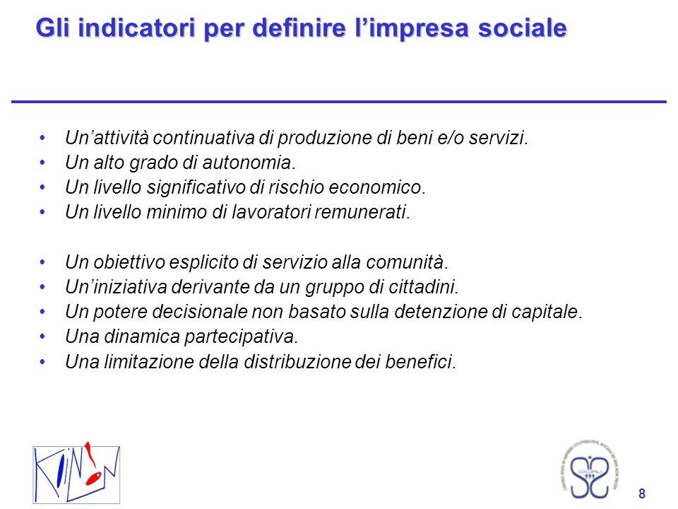 8 Gli indicatori per definire limpresa sociale Unattività continuativa di produzione di beni e/o servizi. Un alto grado di autonomia. Un livello signi