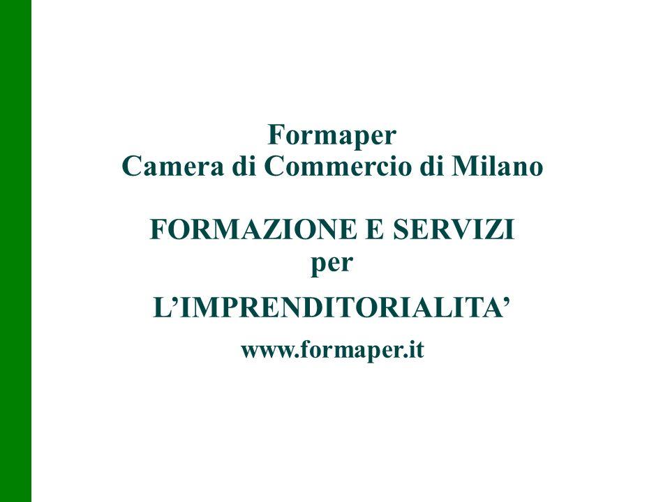 Formaper Camera di Commercio di Milano FORMAZIONE E SERVIZI per LIMPRENDITORIALITA www.formaper.it