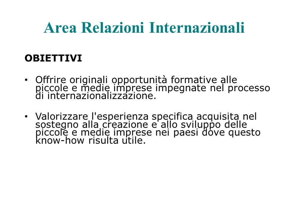 Area Relazioni Internazionali OBIETTIVI Offrire originali opportunità formative alle piccole e medie imprese impegnate nel processo di internazionalizzazione.