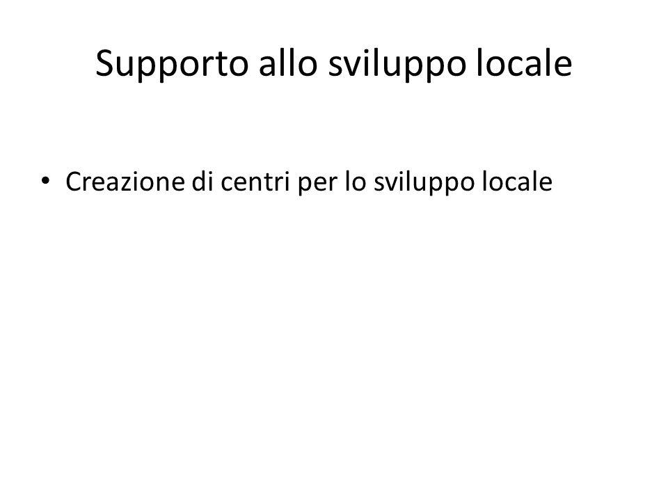 Supporto allo sviluppo locale Creazione di centri per lo sviluppo locale