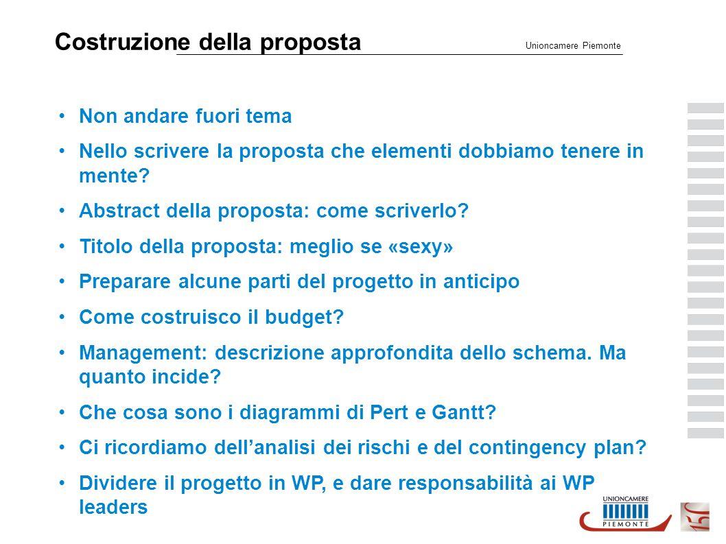 Costruzione della proposta Unioncamere Piemonte Non andare fuori tema Nello scrivere la proposta che elementi dobbiamo tenere in mente.