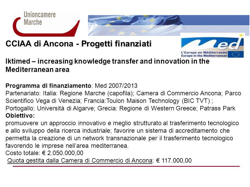 Progetti finanziati CCIAA di Ancona - Progetti finanziati Iktimed – increasing knowledge transfer and innovation in the Mediterranean area Programma d