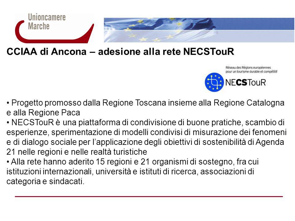 CCIAA di Ancona – adesione alla rete NECSTouR Progetto promosso dalla Regione Toscana insieme alla Regione Catalogna e alla Regione Paca NECSTouR è una piattaforma di condivisione di buone pratiche, scambio di esperienze, sperimentazione di modelli condivisi di misurazione dei fenomeni e di dialogo sociale per lapplicazione degli obiettivi di sostenibilità di Agenda 21 nelle regioni e nelle realtà turistiche Alla rete hanno aderito 15 regioni e 21 organismi di sostegno, fra cui istituzioni internazionali, università e istituti di ricerca, associazioni di categoria e sindacati.