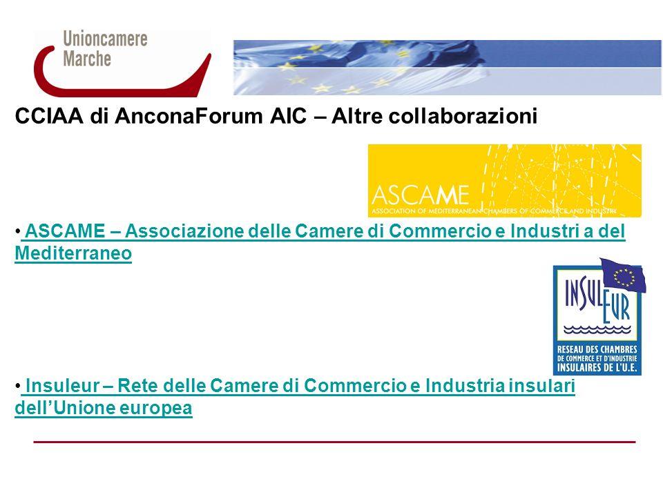 CCIAA di AnconaForum AIC – Altre collaborazioni ASCAME – Associazione delle Camere di Commercio e Industri a del Mediterraneo ASCAME – Associazione de