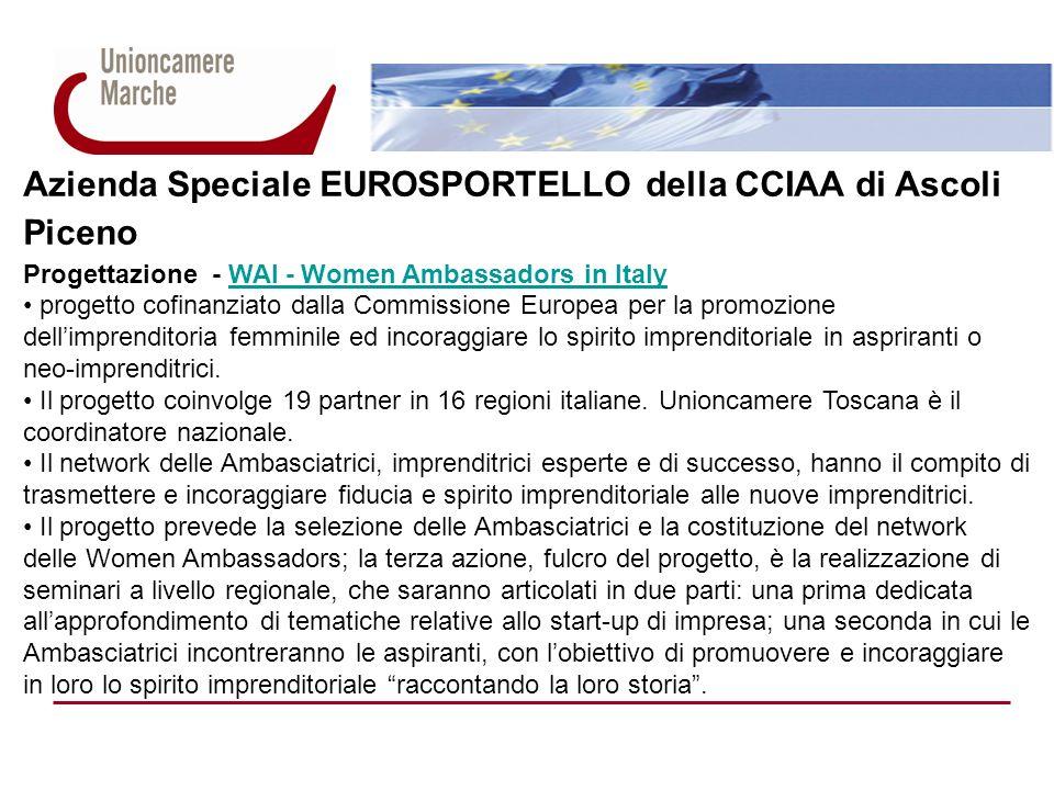 Azienda Speciale EUROSPORTELLO della CCIAA di Ascoli Piceno Progettazione - WAI - Women Ambassadors in ItalyWAI - Women Ambassadors in Italy progetto