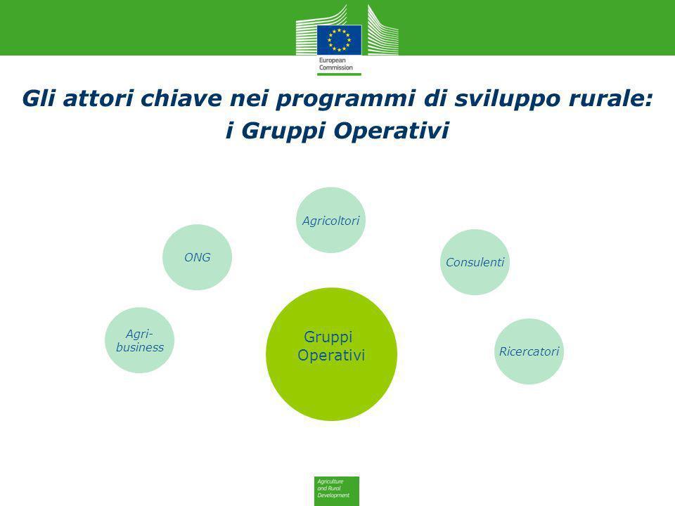 Agricoltori ONG Consulenti Ricercatori Agri- business Gruppi Operativi Gli attori chiave nei programmi di sviluppo rurale: i Gruppi Operativi