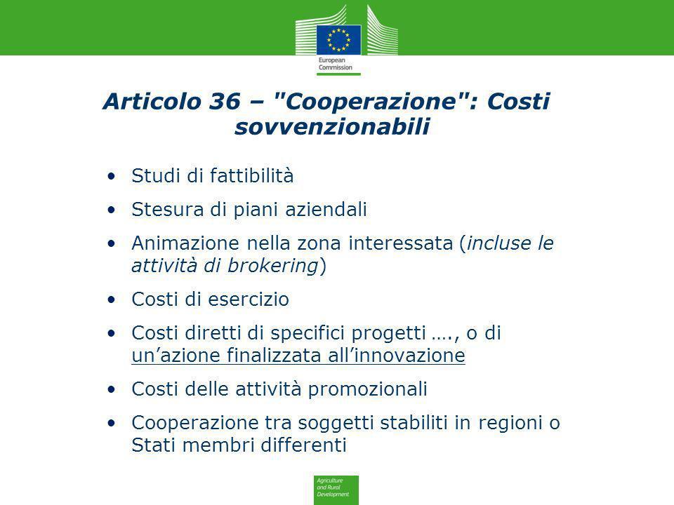 Studi di fattibilità Stesura di piani aziendali Animazione nella zona interessata (incluse le attività di brokering) Costi di esercizio Costi diretti