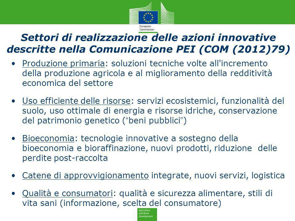 Settori di realizzazione delle azioni innovative descritte nella Comunicazione PEI (COM (2012)79) Produzione primaria: soluzioni tecniche volte all'in