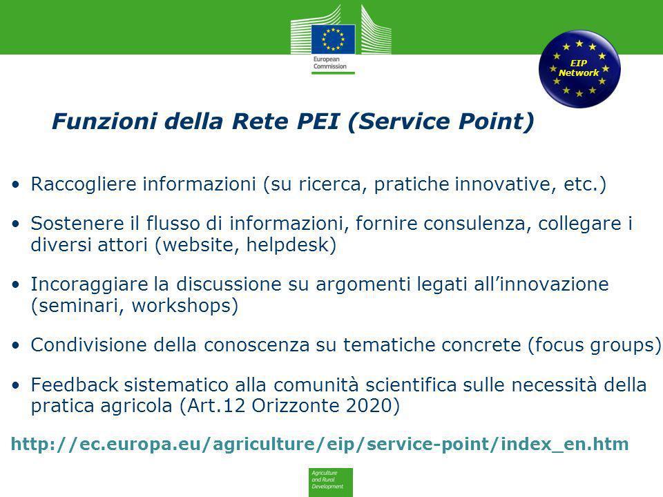 Funzioni della Rete PEI (Service Point) Raccogliere informazioni (su ricerca, pratiche innovative, etc.) Sostenere il flusso di informazioni, fornire