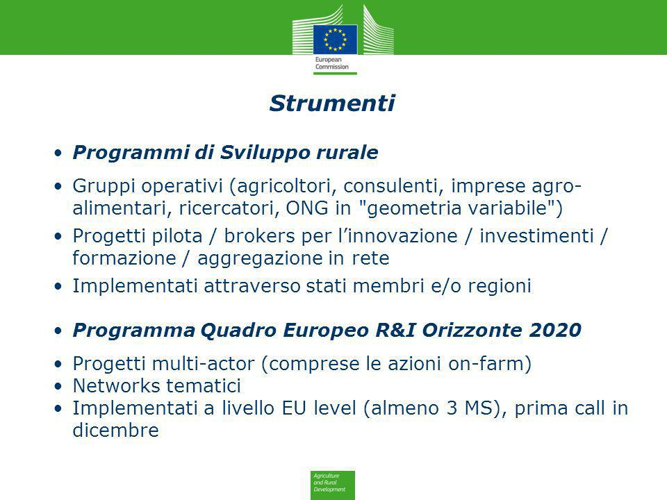 Programmi di Sviluppo rurale Gruppi operativi (agricoltori, consulenti, imprese agro- alimentari, ricercatori, ONG in