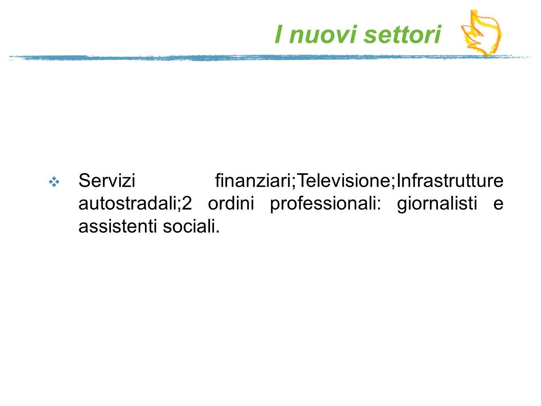 I nuovi settori Servizi finanziari;Televisione;Infrastrutture autostradali;2 ordini professionali: giornalisti e assistenti sociali.