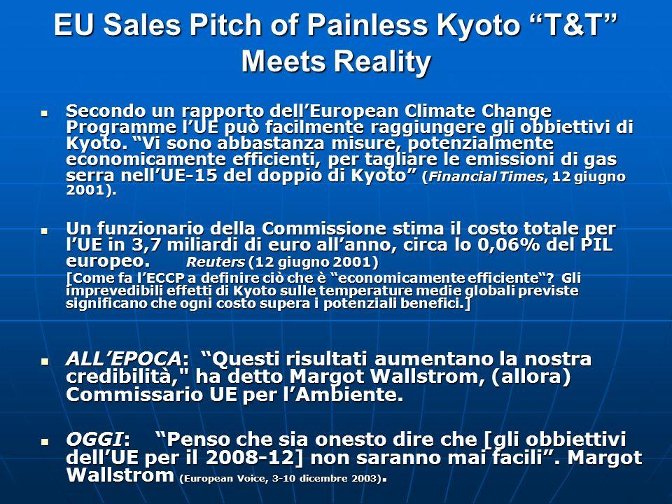 EU Sales Pitch of Painless Kyoto T&T Meets Reality Secondo un rapporto dellEuropean Climate Change Programme lUE può facilmente raggiungere gli obbiettivi di Kyoto.
