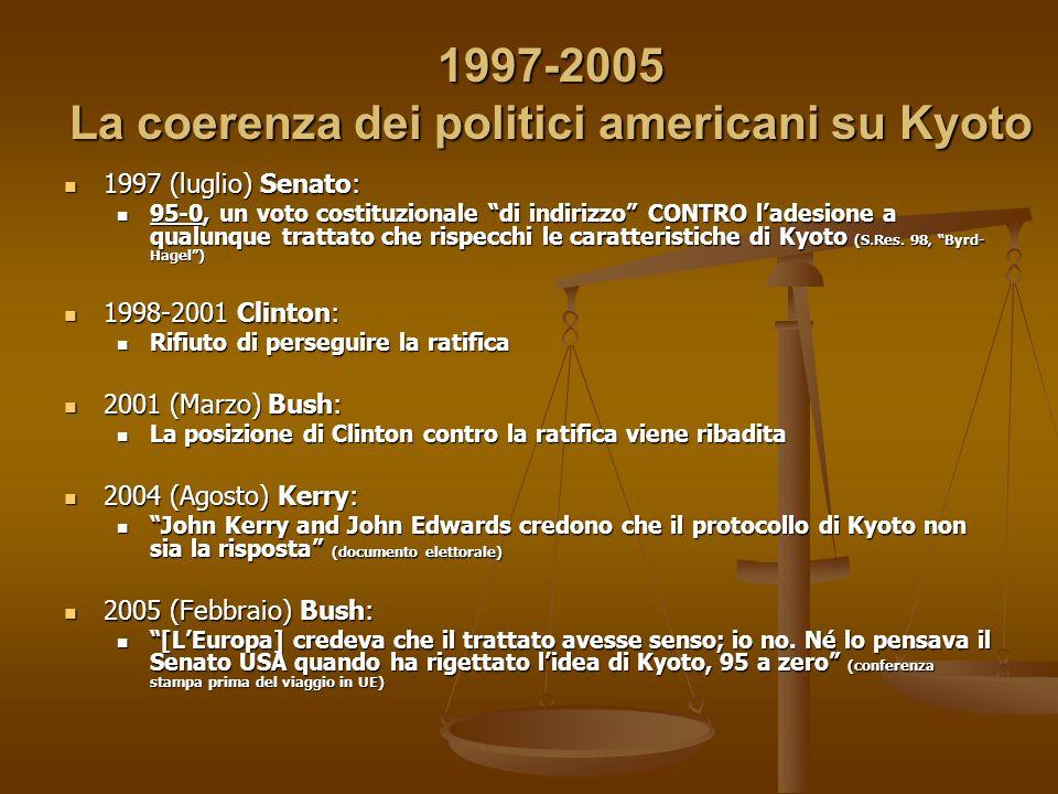 1997-2005 La coerenza dei politici americani su Kyoto 1997 (luglio) Senato: 1997 (luglio) Senato: 95-0, un voto costituzionale di indirizzo CONTRO ladesione a qualunque trattato che rispecchi le caratteristiche di Kyoto (S.Res.