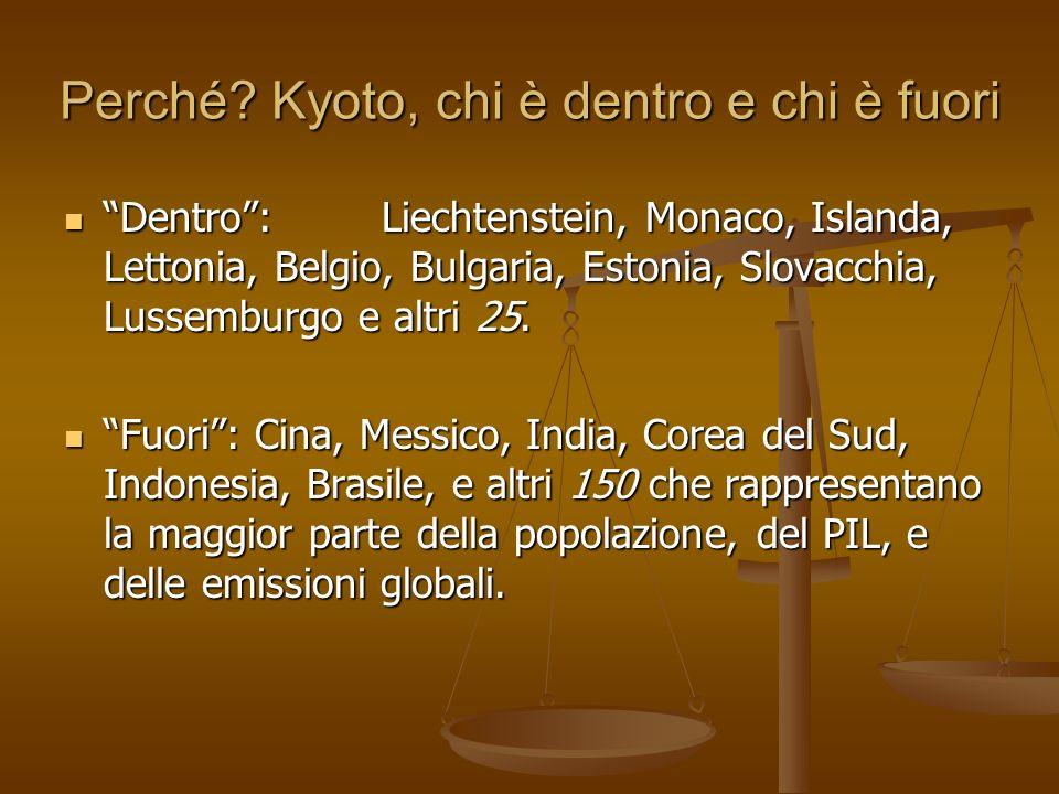 Perché? Kyoto, chi è dentro e chi è fuori Dentro: Liechtenstein, Monaco, Islanda, Lettonia, Belgio, Bulgaria, Estonia, Slovacchia, Lussemburgo e altri