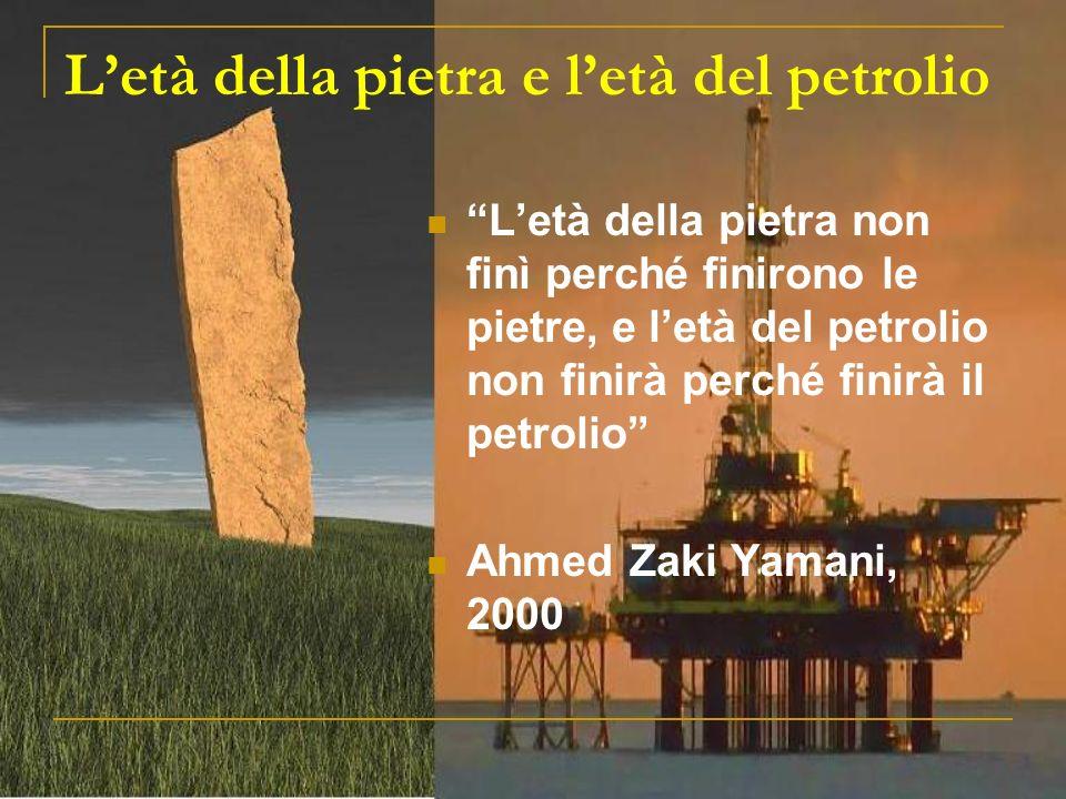 Letà della pietra e letà del petrolio Letà della pietra non finì perché finirono le pietre, e letà del petrolio non finirà perché finirà il petrolio Ahmed Zaki Yamani, 2000